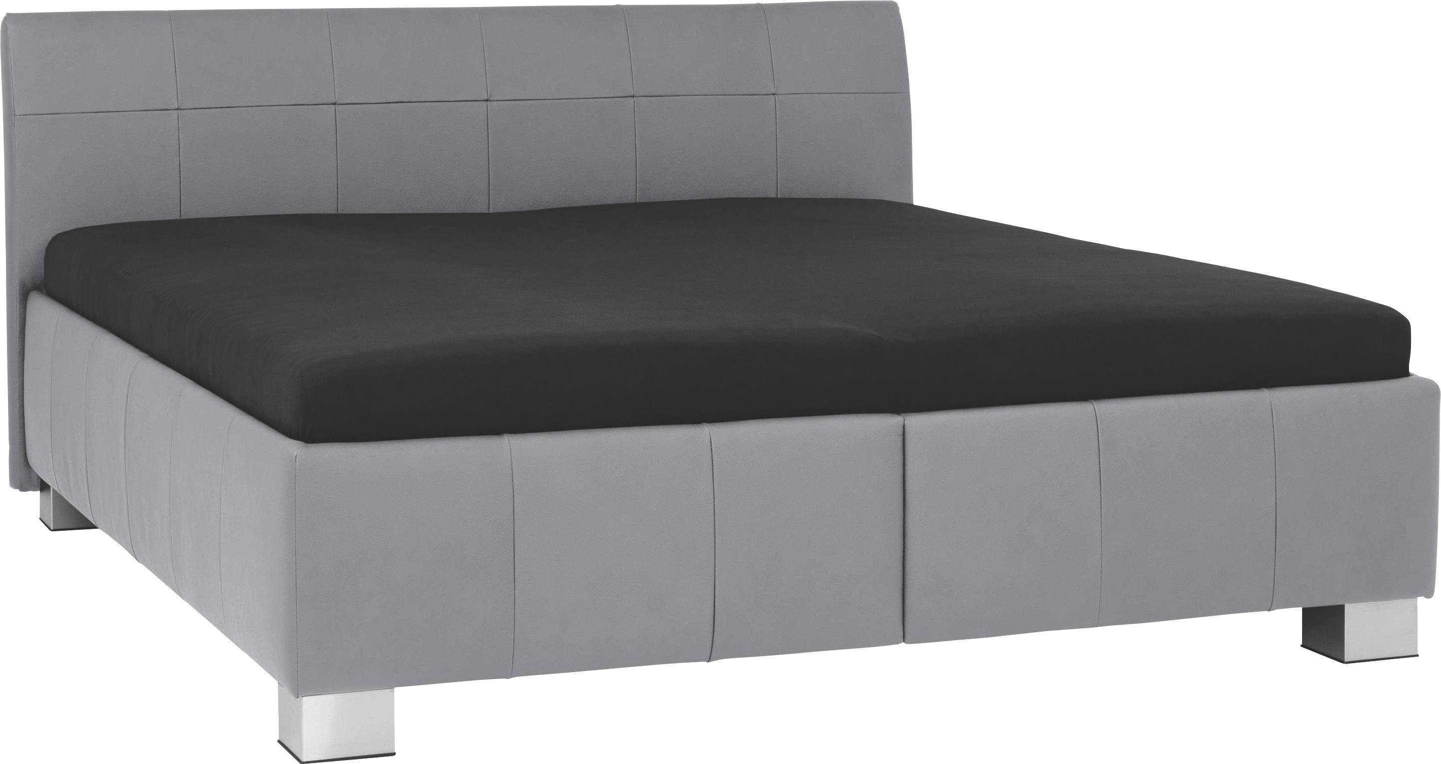 POLSTERBETT 180/200 cm - Silberfarben/Grau, KONVENTIONELL, Leder/Textil (180/200cm) - XORA