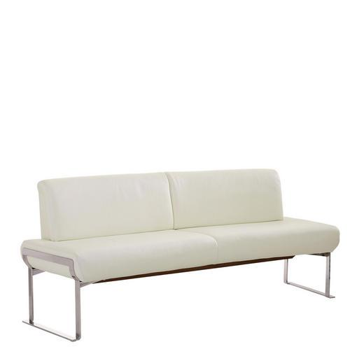 SITZBANK Echtleder Weiß - Chromfarben/Weiß, Design, Leder/Metall (212/86/76cm) - Joop!