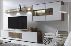 WOHNWAND Kerneiche vollmassiv Weiß, Eichefarben  - Eichefarben/Silberfarben, Design, Glas/Holz (316/180/49cm) - Valnatura