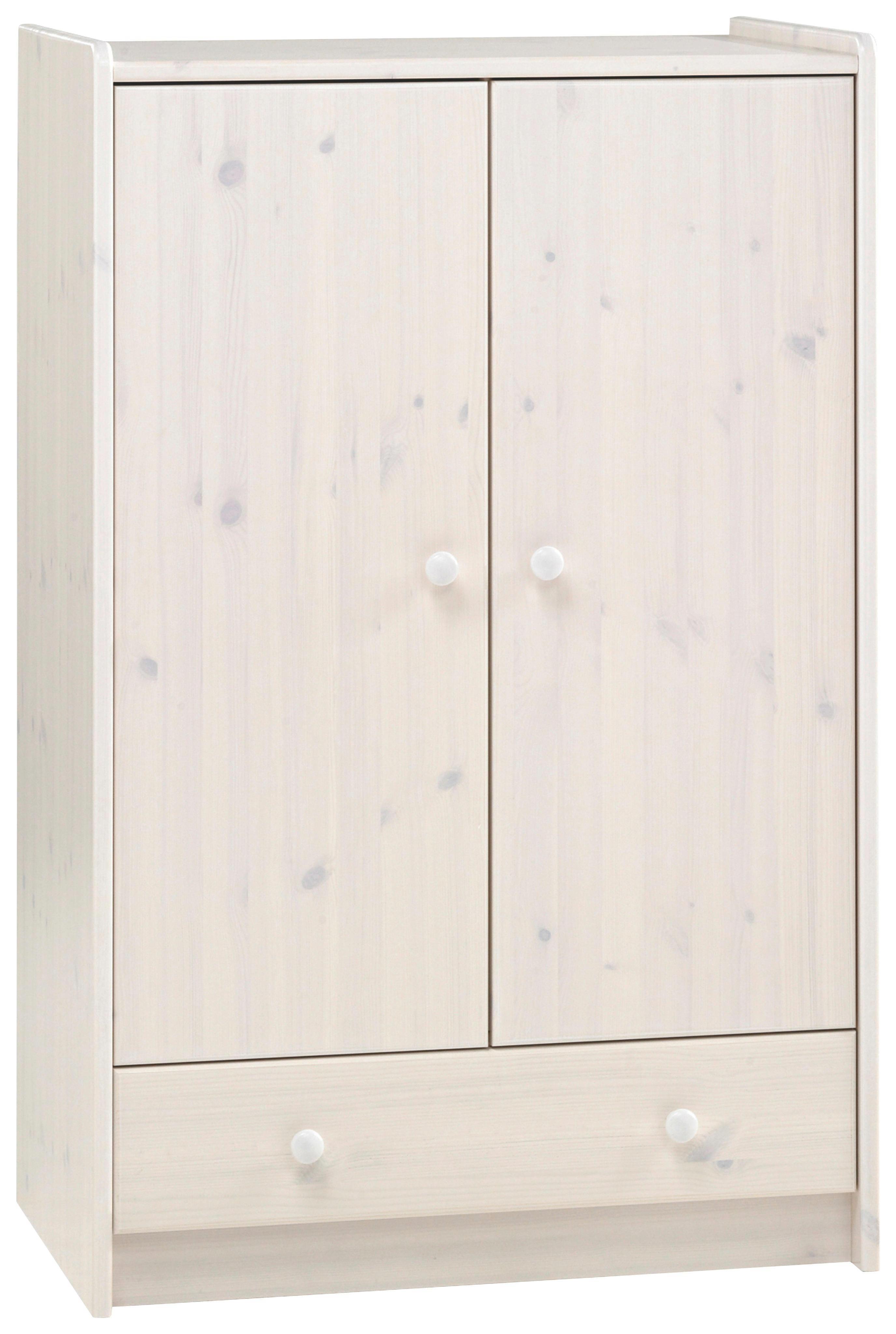 KLEIDERSCHRANK 2  -türig Kiefer massiv Weiß - Weiß, Design, Holz (79/123/54cm) - CARRYHOME