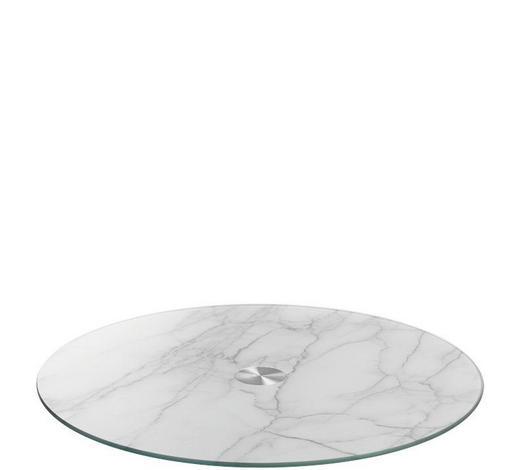 SERVIERPLATTE - Weiß/Grau, Basics, Glas/Metall (33cm) - Leonardo