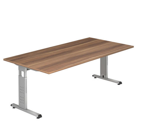 SCHREIBTISCH - Silberfarben/Zwetschgefarben, KONVENTIONELL, Holzwerkstoff/Metall (200/65-85/100cm)