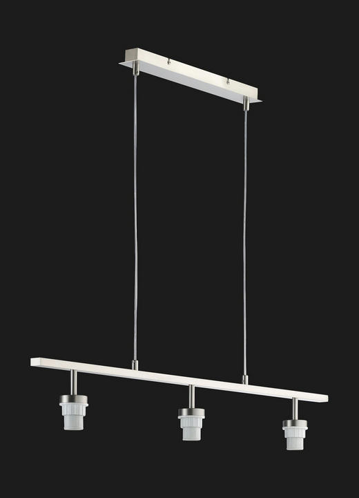 HÄNGELEUCHTE - Nickelfarben, Design, Metall (97cm)