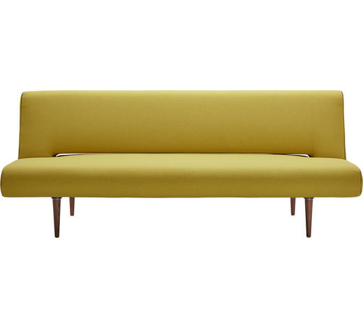 SCHLAFSOFA in Textil Gelb - Dunkelbraun/Gelb, Design, Holz/Textil (200/84/93cm) - Innovation