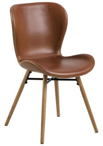 STUHL Lederlook Braun, Eichefarben - Eichefarben/Creme, Trend, Holz/Textil (56/82,5/47cm) - Ambia Home