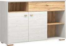SIDEBOARD melaminharzbeschichtet Weiß - Eichefarben/Weiß, Design, Holz/Holzwerkstoff (142/91/41cm) - Linea Natura