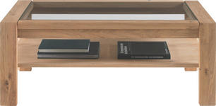 COUCHTISCH in Glas, Holz 115/65/45 cm - Buchefarben, Design, Glas/Holz (115/65/45cm) - Linea Natura