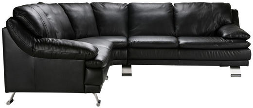 SOFFA - alufärgad/svart, Design, metall/läder (266/87/266cm) - Celina Home