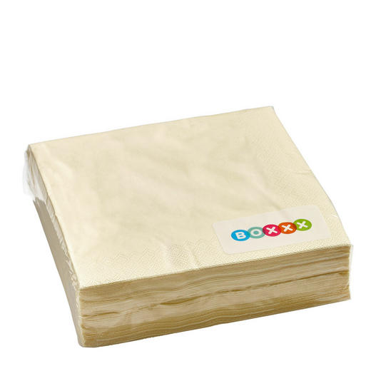 Servietten, 50er Pac  Papier  Creme  40/40 cm - Creme, Basics, Papier (40/40cm) - Boxxx