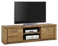 TV-ELEMENT Wildeiche furniert, massiv Eichefarben - Eichefarben/Alufarben, LIFESTYLE, Holz/Metall (170/51/40cm) - Hom`in