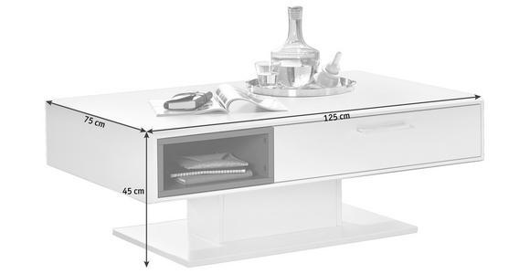 COUCHTISCH in Holzwerkstoff 125/75/45 cm - Weiß/Grau, Design, Holzwerkstoff (125/75/45cm) - Hom`in