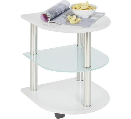 ODKLÁDACÍ STOLEK, bílá - bílá, Design, kov/kompozitní dřevo (40/40/49cm) - Xora