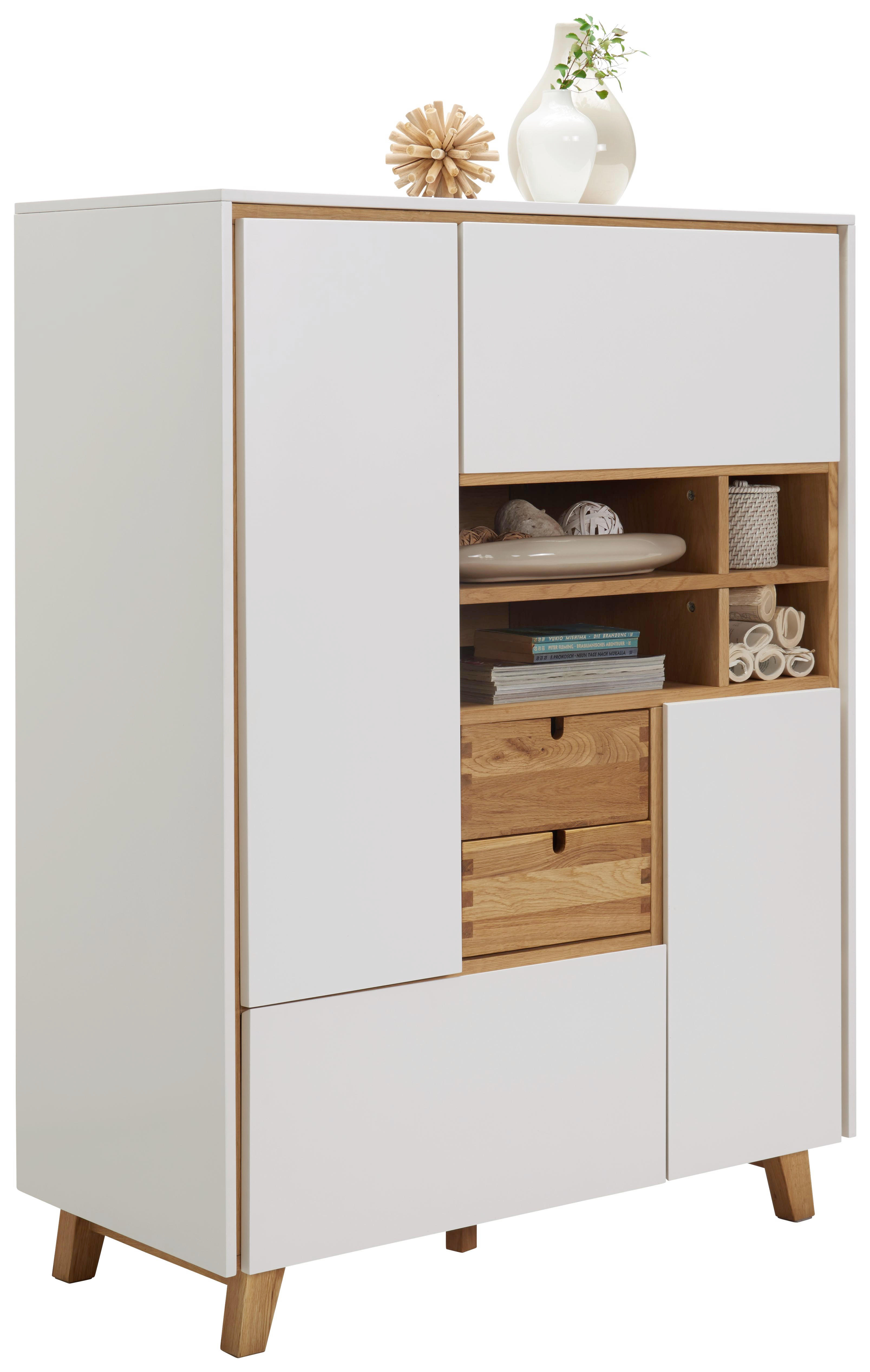 KOMMODE Eiche Furniert Eichefarben, Weiß   Eichefarben/Weiß, Design,  Holz/Holzwerkstoff