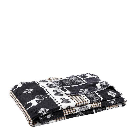 DECKE 130/160 cm Schwarz, Weiß - Schwarz/Weiß, Basics, Textil (130/160cm)