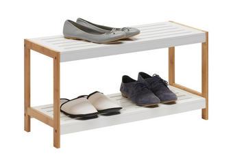 REGAL ZA ČEVLJE masivno bela, rjava - bela/rjava, Design, leseni material/les (70/36/26cm) - Xora