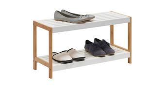 STALAK ZA OBUĆU - bijela/smeđa, Design, drvni materijal/drvo (70/36/26cm) - Xora