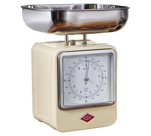 Retro Küchenwaage mit Uhr - Edelstahlfarben/Creme, Basics, Metall (13/15/27cm) - Wesco