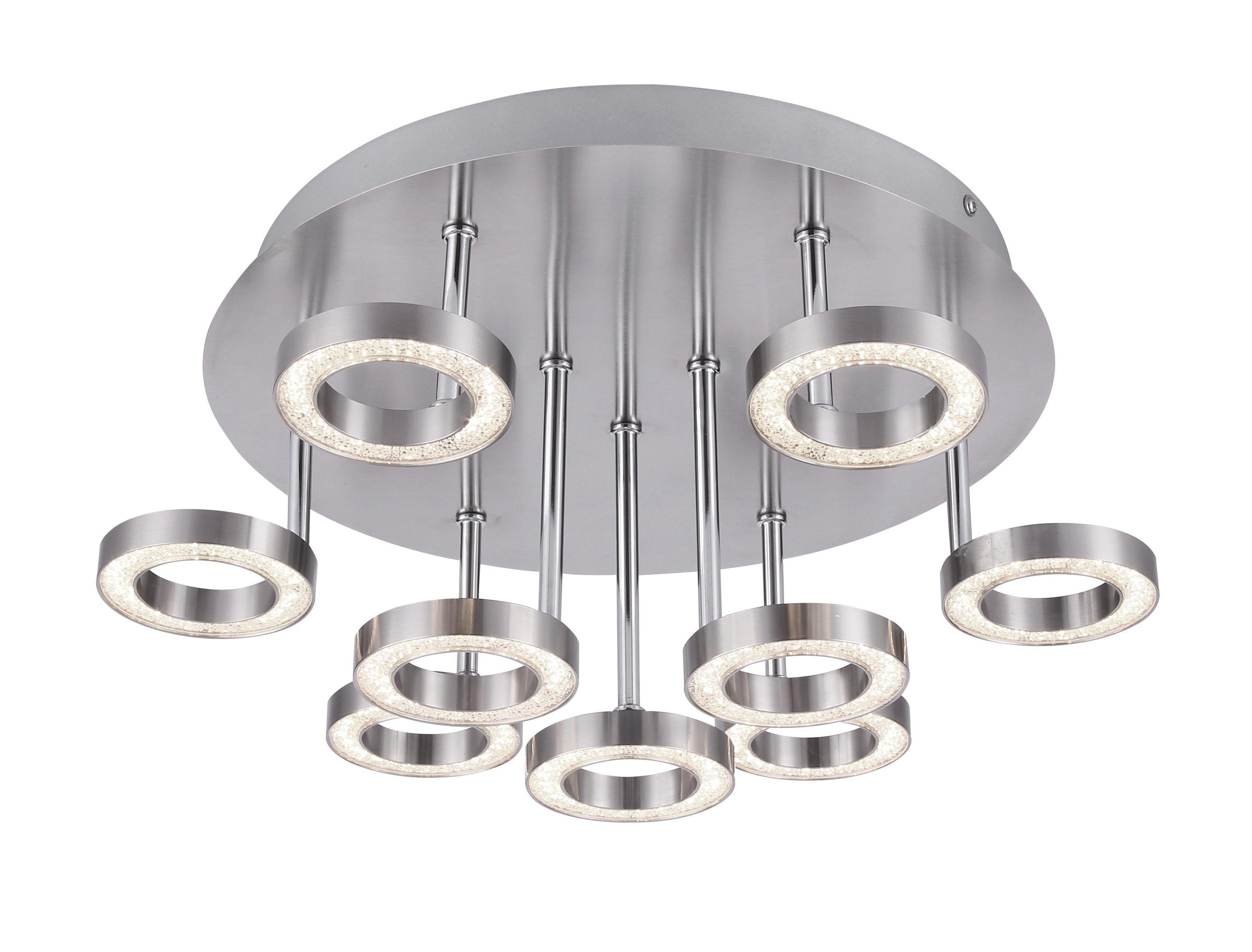 LED-DECKENLEUCHTE - Chromfarben/Nickelfarben, Design, Kunststoff/Metall (42/20/42cm)
