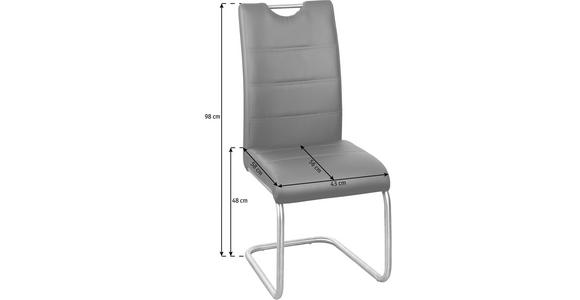 SCHWINGSTUHL in Metall, Textil Grau, Edelstahlfarben  - Edelstahlfarben/Grau, Design, Textil/Metall (43/98/58cm) - Xora