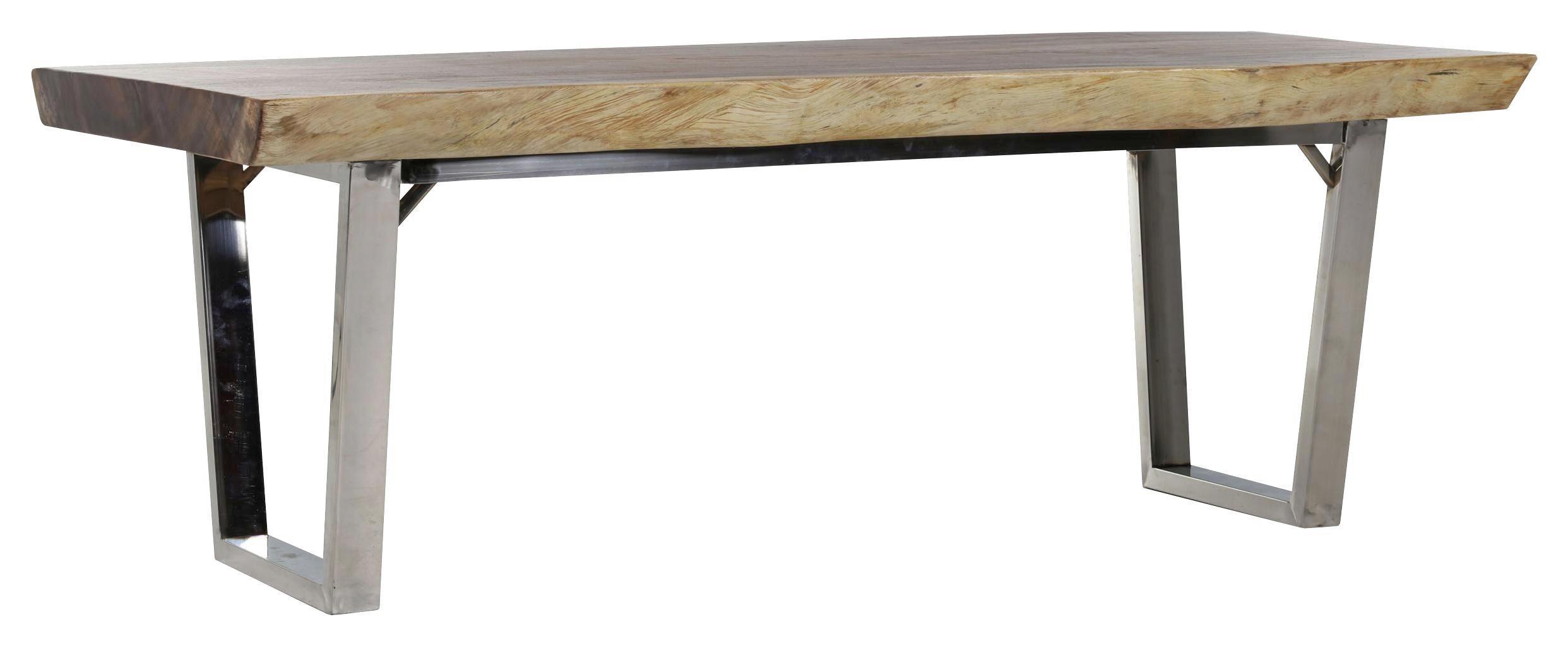 ESSTISCH Suar Holz Massiv Rechteckig Naturfarben    Edelstahlfarben/Naturfarben, Design, Holz/Metall
