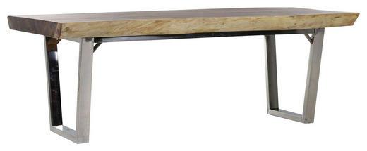 ESSTISCH Suar Holz massiv rechteckig Naturfarben - Edelstahlfarben/Naturfarben, Design, Holz/Metall (220/90/76cm) - Carryhome