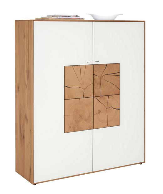 HIGHBOARD Kerneiche vollmassiv gebürstet, gewachst, lackiert, matt Weiß - Weiß, Design, Glas/Holz (117/138/39cm) - Valnatura