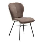 STUHL in Leder, Metall, Textil Anthrazit, Hellbraun, Taupe - Taupe/Hellbraun, Design, Leder/Textil (48/91/61cm) - Bert Plantagie