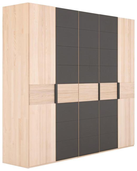 KLEIDERSCHRANK 5-türig Kernesche massiv Dunkelbraun, Eschefarben - Dunkelbraun/Eschefarben, Design, Glas/Holz (249,6/224,6/57cm) - Valdera