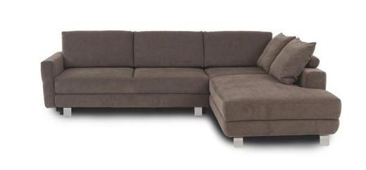 WOHNLANDSCHAFT in Textil Braun - Alufarben/Braun, KONVENTIONELL, Textil/Metall (271+13/200cm) - Sedda