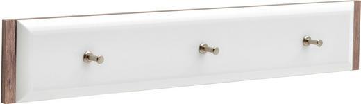 HAKENLEISTE - Eichefarben/Weiß, Design, Holzwerkstoff (100/20/3cm) - Xora
