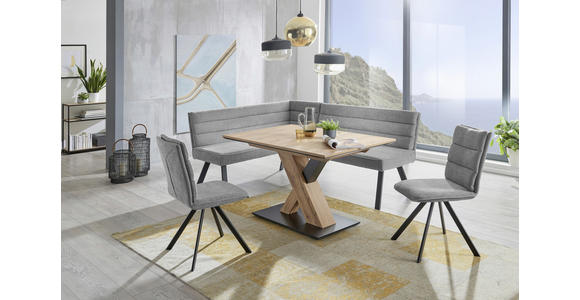 ECKBANK 155/195 cm  in Blau, Grau, Schwarz  - Blau/Schwarz, Design, Textil/Metall (155/195cm) - Cantus