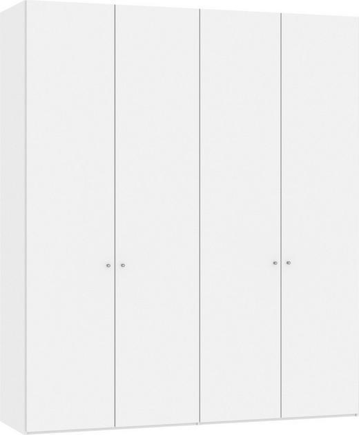 DREHTÜRENSCHRANK 4-türig Weiß - Silberfarben/Weiß, Design, Glas/Holzwerkstoff (202,5/236/58,5cm) - Jutzler