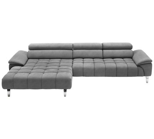 WOHNLANDSCHAFT in Textil Silberfarben, Hellgrau - Chromfarben/Silberfarben, Design, Textil/Metall (190/329cm) - Beldomo Style