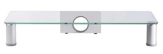TV-AUFSATZ  Glas, Metall  Klar, Silberfarben - Klar/Silberfarben, KONVENTIONELL, Glas/Metall (62/10/25cm)