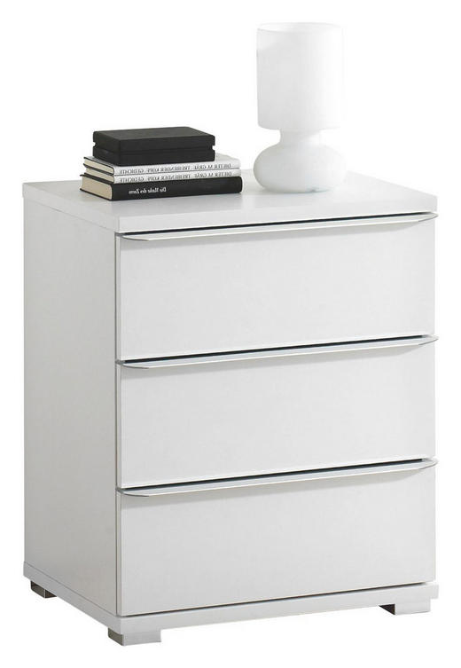 KOMMODE Weiß - Chromfarben/Weiß, Design, Glas/Kunststoff (51/62/40cm) - Moderano