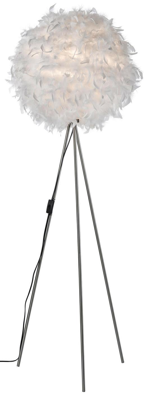 STOJACÍ LAMPA - bílá/barvy niklu, Trend, další přírodní materiály/kov (40/150cm) - Boxxx