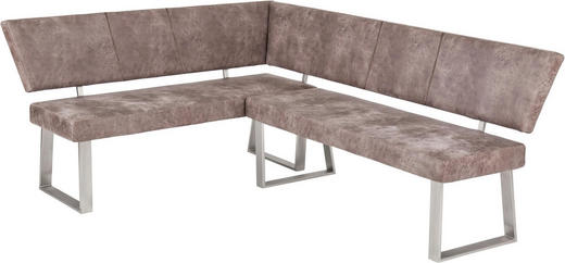 ECKBANK Lederlook Hellgrau - Edelstahlfarben/Hellgrau, Design, Textil/Metall (206/85/165cm) - Carryhome