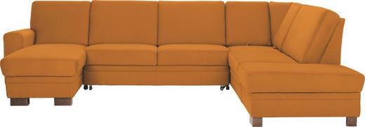 WOHNLANDSCHAFT - Gelb/Braun, Design, Holz/Textil (163/319/241cm) - Beldomo System