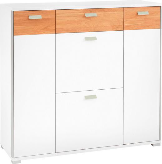 SCHUHSCHRANK lackiert, matt Sandfarben, Weiß - Sandfarben/Chromfarben, Design, Metall (110/103/37cm)