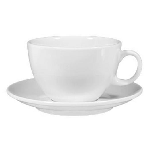 JUMBOTASSE MIT UNTERTASSE - Weiß, Basics, Keramik (0.35l) - SELTMANN WEIDEN