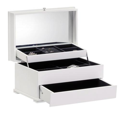 ŠKATLA ZA NAKIT - črna/bela, Basics, steklo/leseni material (40/26/20cm) - Xora