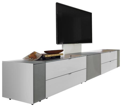 TV-ELEMENT Grau, Weiß - Alufarben/Schwarz, Design, Glas/Textil (303/49,8/57cm) - Musterring