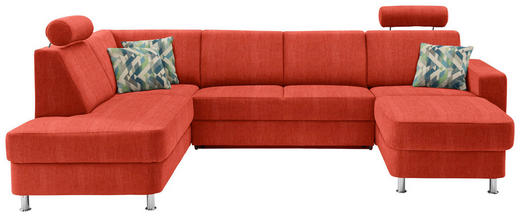 WOHNLANDSCHAFT in Textil Orange - Chromfarben/Multicolor, Design, Kunststoff/Textil (198/301/165cm) - Xora