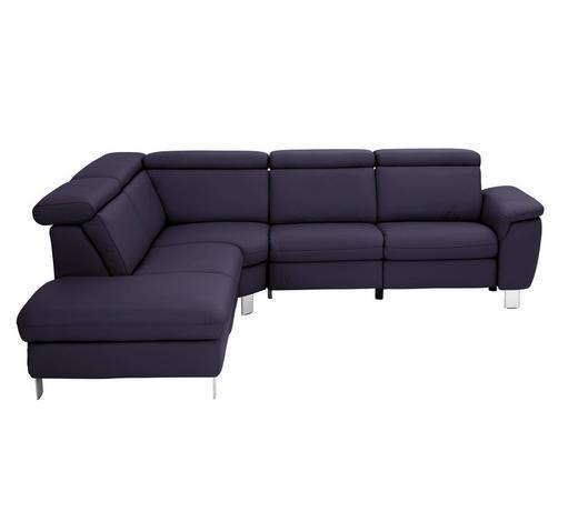 WOHNLANDSCHAFT in Leder Violett  - Violett/Alufarben, Design, Leder/Metall (242/271cm) - Cantus