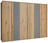 DREHTÜRENSCHRANK in Grau, Eichefarben  - Eichefarben/Grau, Natur, Holz (299/223/59cm) - Valnatura