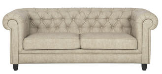 CHESTERFIELD-SOFA in Textil Sandfarben  - Sandfarben/Wengefarben, Design, Holz/Textil (202/78/96cm) - Carryhome