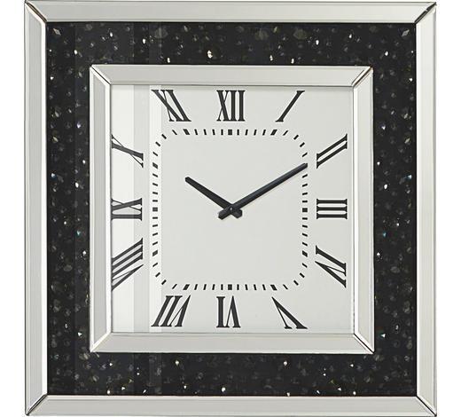 NÁSTĚNNÉ HODINY, černá, barvy stříbra,  - černá/barvy stříbra, Design, kompozitní dřevo/sklo (50,5/50,5/2,2cm) - Xora