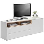 KOMODA LOWBOARD, barvy dubu, bílá - bílá/barvy stříbra, Design, dřevěný materiál/umělá hmota (170,3/60,2/43cm) - Hom`in
