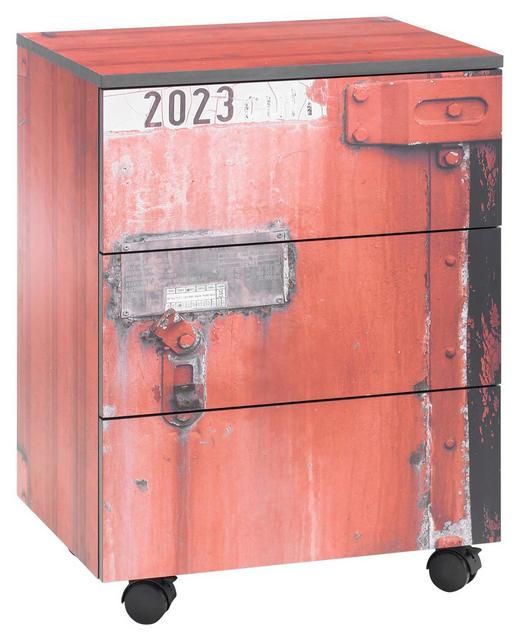 ROLLCONTAINER - Rot/Schwarz, Design, Holzwerkstoff/Kunststoff (50/66/38cm) - Stylife
