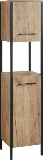 HOCHSCHRANK Eichefarben - Eichefarben/Schwarz, Design, Holzwerkstoff/Metall (36/163/35cm) - Xora